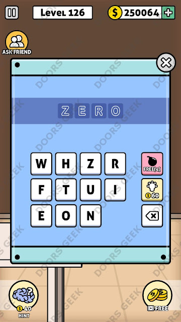 The answer for Escape Room: Mystery Word Level 126 is: ZERO