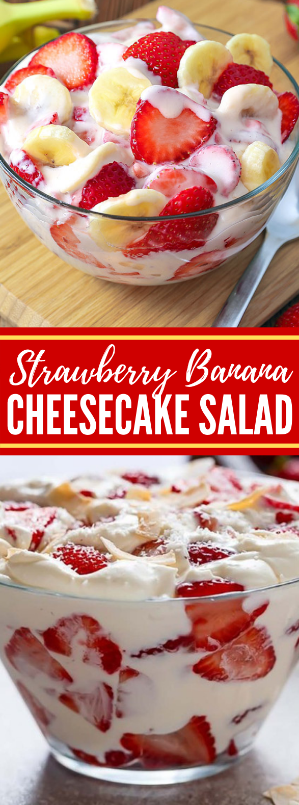 Strawberry Banana Cheesecake Salad #desserts #potluck