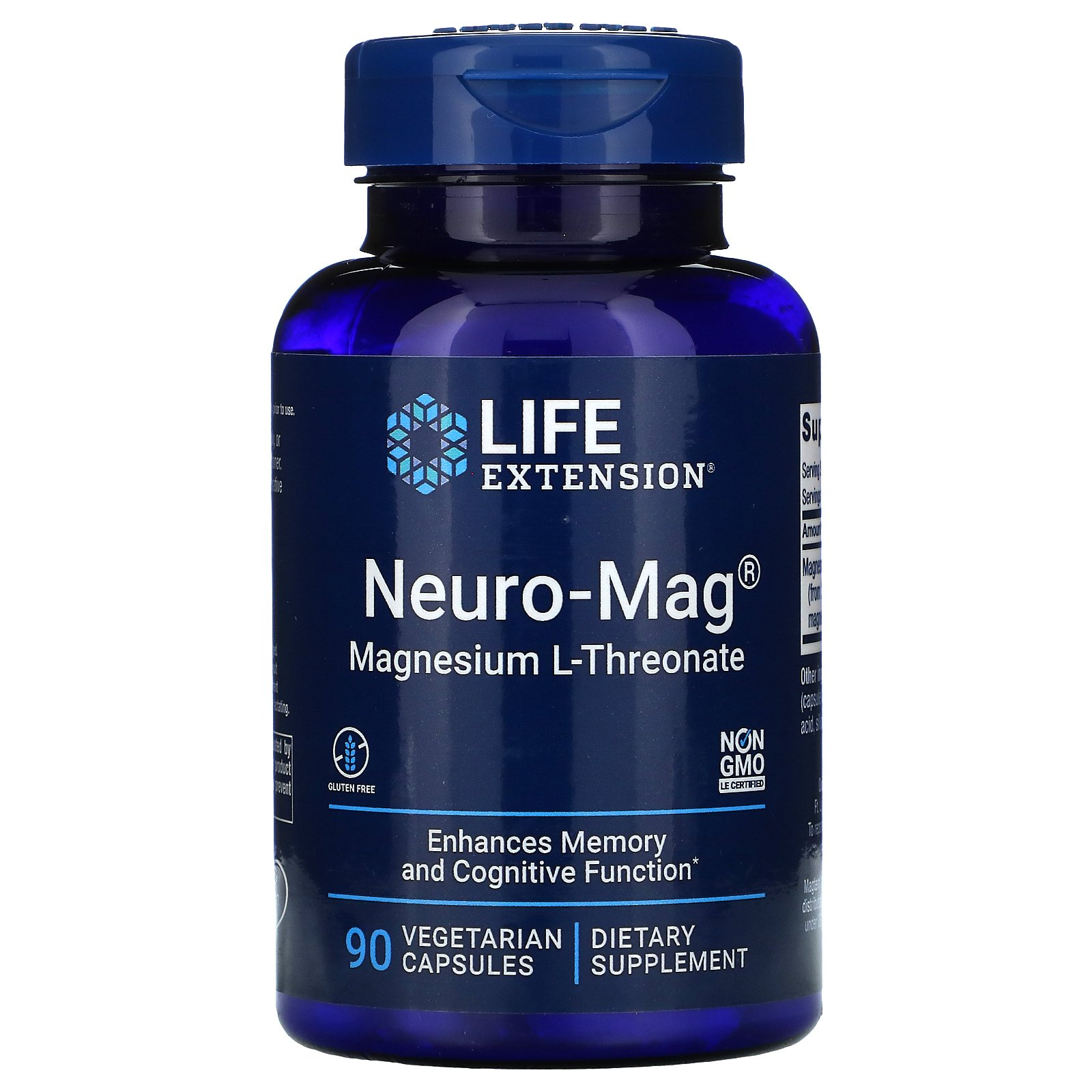 Life Extension, Neuro-Mag, магний L-треонат, 90 вегетарианских капсул