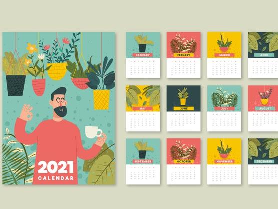 calendario ilustrado 2021 con flores y plantas