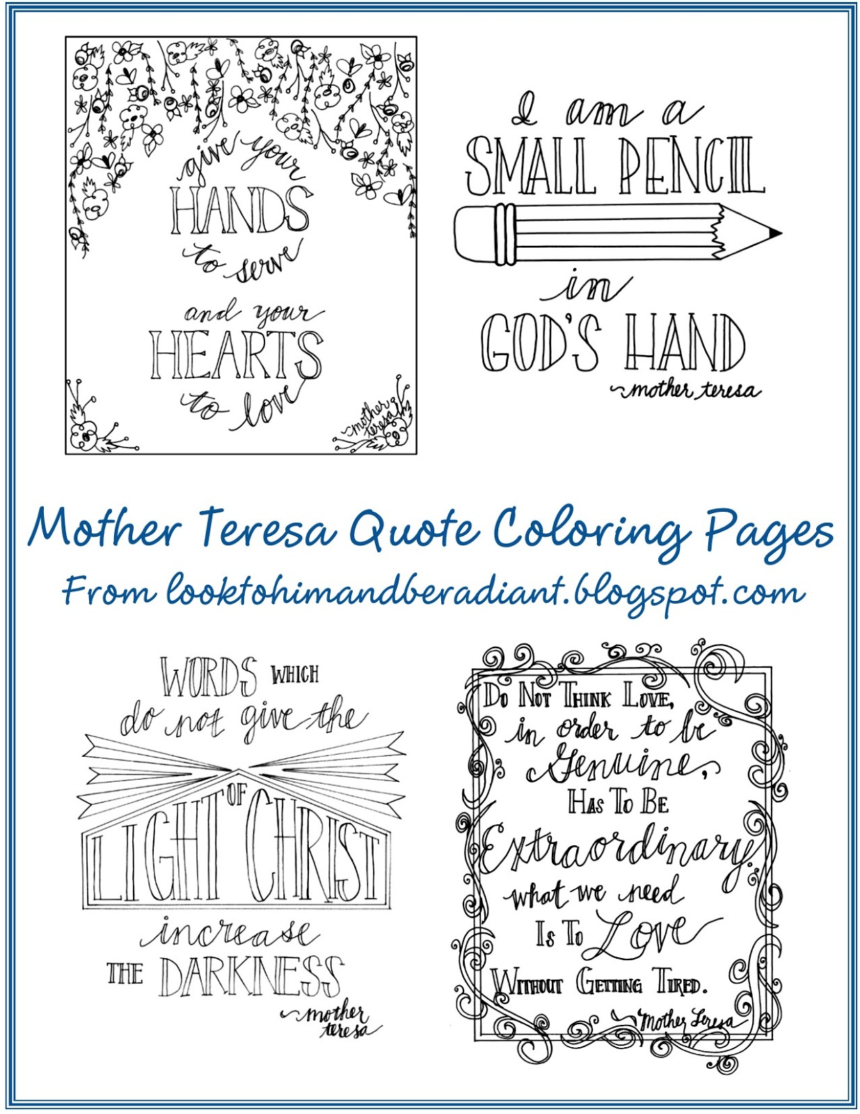 Blessed Mother Teresa Coloring Page