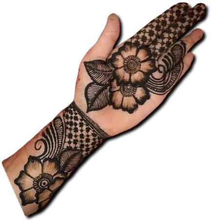 Big Flower Mehndi Design for front hand