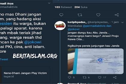 Tuduh Warga Yang Hadang Ahmad Dani dan Neno Warisman, Abu Janda Dikepret Netizen! Yang Hadang itu Projo!