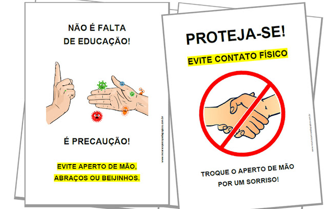 placas de aviso para imprimir corona vírus escola mão