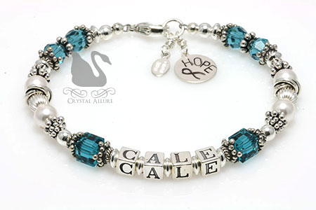 Robyn's Custom Swarovski Crystal Awareness Bracelet (B188-CI)