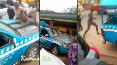 Man Goes Naked On The High Way, Fights FRSC Officer In Benin (Video)