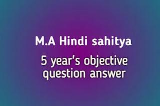 M A HINDI SAHITYA