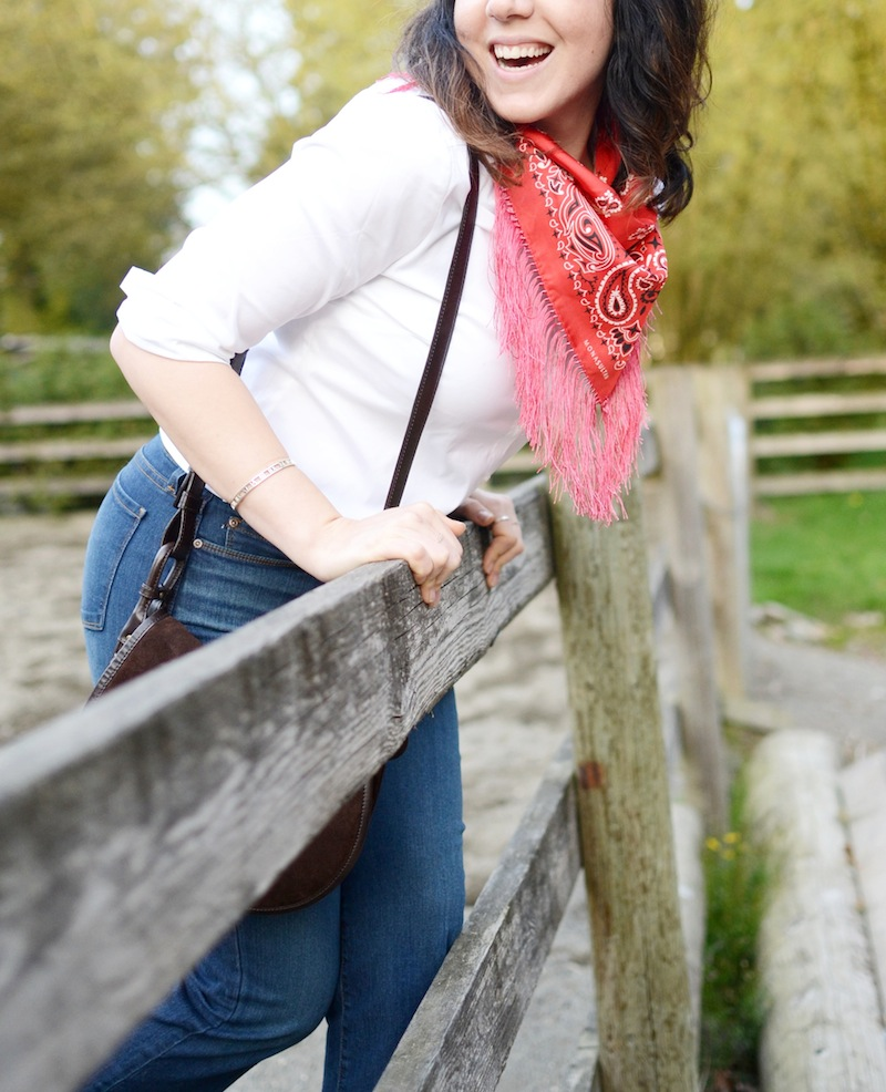 NYDJ FitToBe cropped jeans and blouse Vancouver fashion blogger Mona Sultan fringe bandana scarf