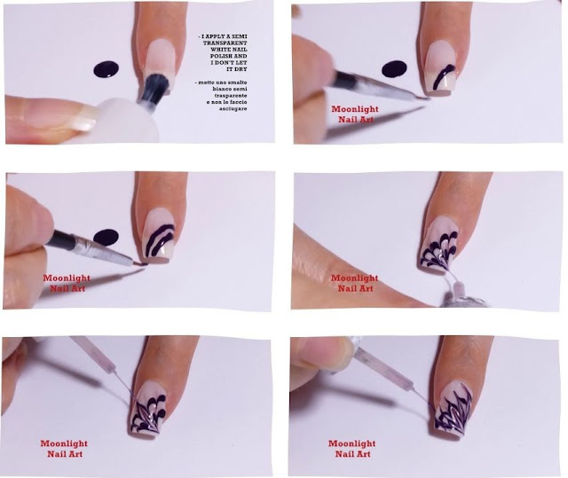 Dark Purple & White Drag marble Nail Design Tutorial