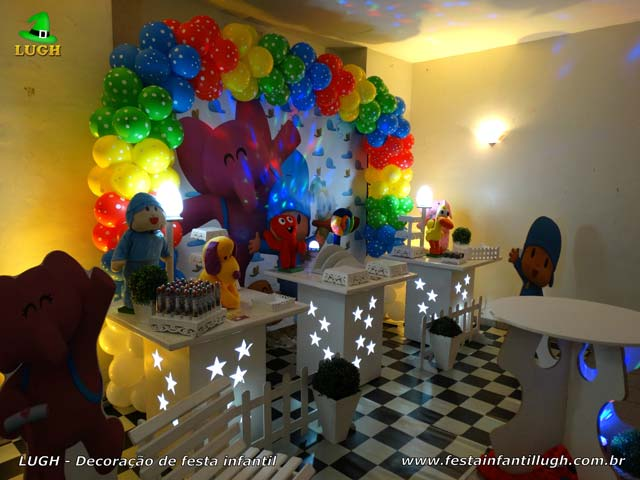 Mesa decorativa de aniversário tema Pocoyo - Festa infantil