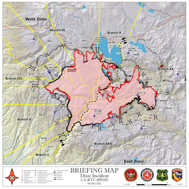 Dixie Fire Briefing Map