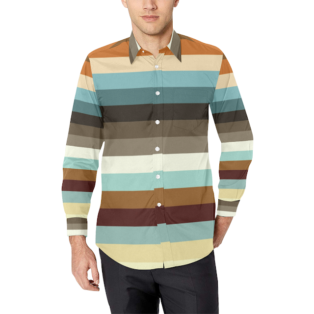 Gomagear Trim Colorful Stripes Long Sleeve Shirt