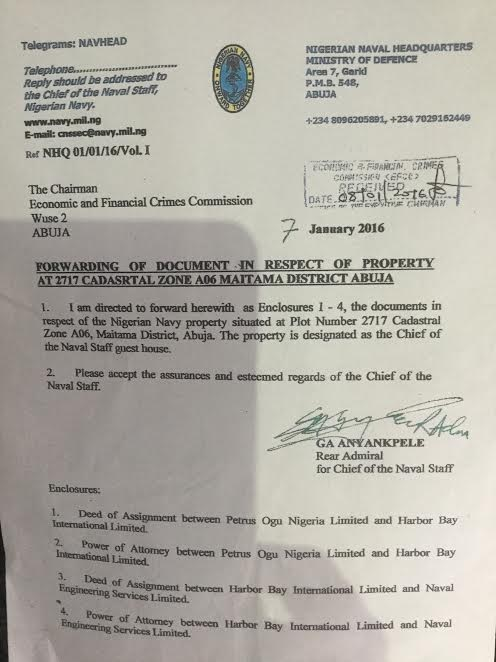 Document From Nigerian Navy Detailing It Actually Owns The Contentious Safe House