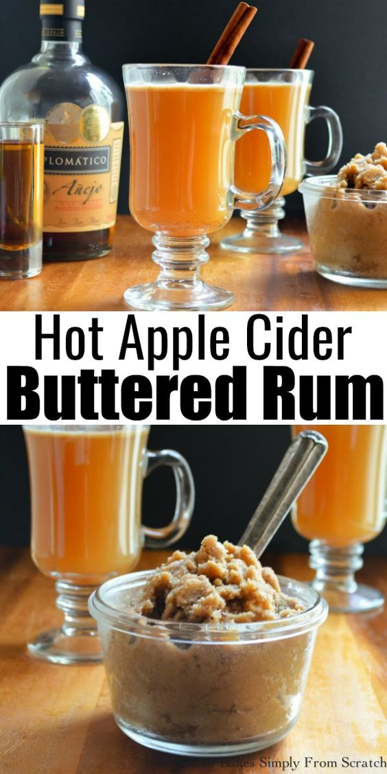 Hot Apple Cider Buttered Rum photo on top and Buttered Rum batter in a glass dish in bottom photo.