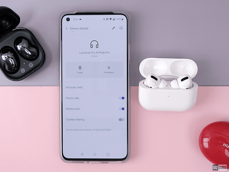 AirPods Pro and Bluetooth settings page