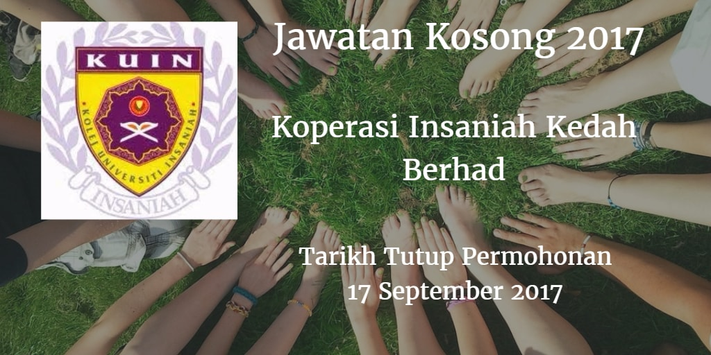 Jawatan Kosong Koperasi Insaniah Kedah Berhad 17 September 2017