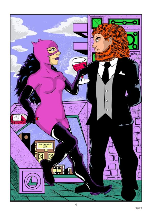 Catwoman and Lex Luthor. Illustrated by Tsujigo/Jeffrey Brown. Used with Tsujigo/Jeffrey Brown's permission.