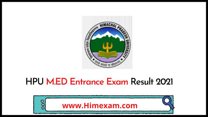 HPU M.ED Entrance Exam Result 2021