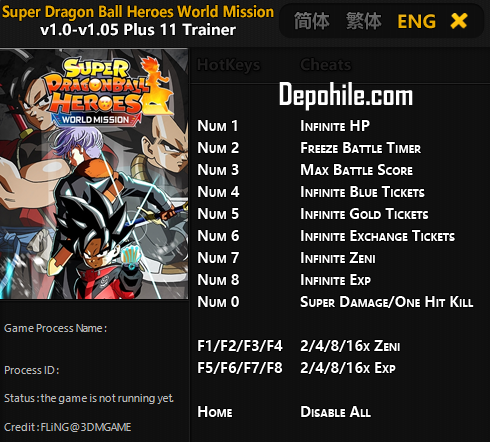 Super Dragon Ball Heroes World Mission HP, Süre +9 Trainer Hile