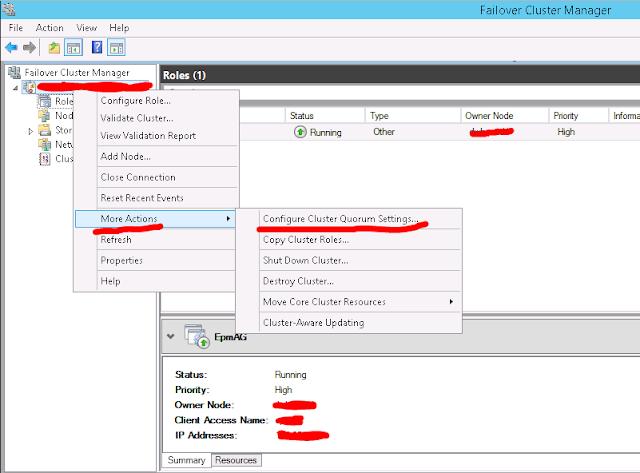 Failover Cluster Manager - Quorum Configuration
