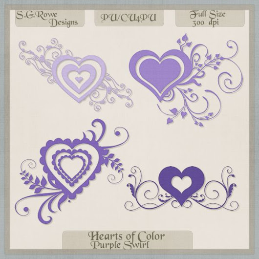 Hearts of Color Swirl Hearts - Purple Shades