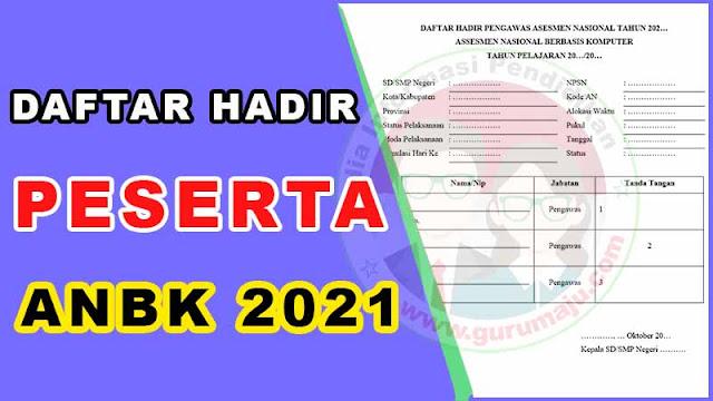 Daftar Hadir Peserta ANBK / AKM 2021 Format Word