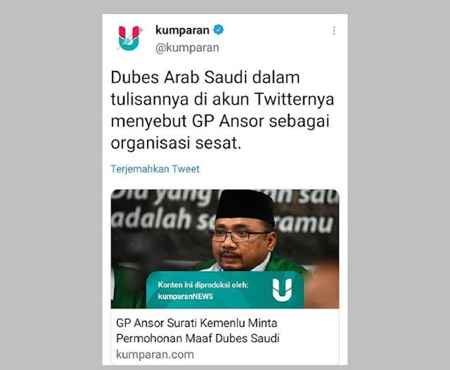Twit Lama Dubes Arab Saudi Kembali Viral