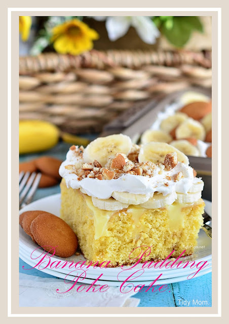 Luscious flavor banana pudding poke cake