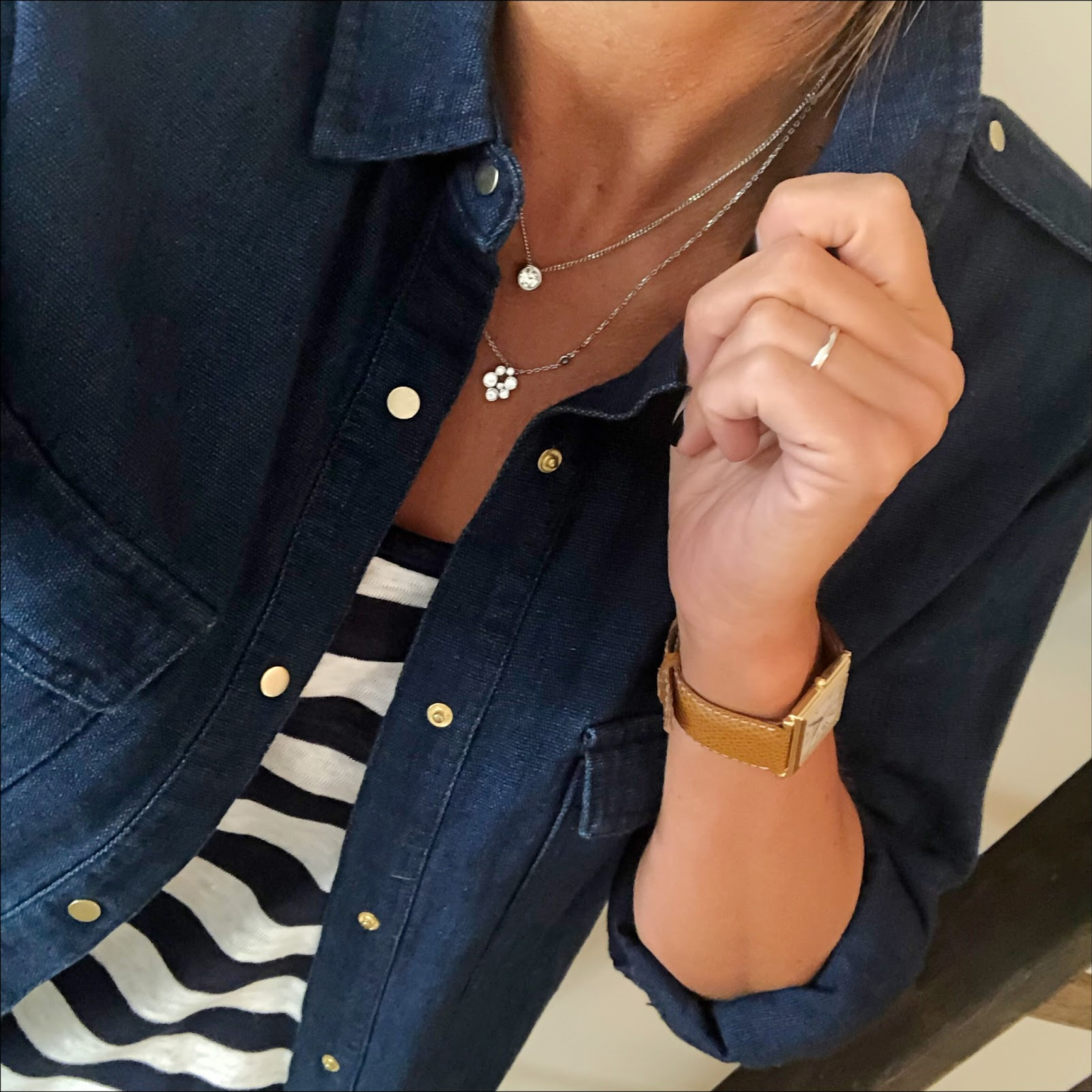 my midlife fashion, zara denim overshirt, j crew stripe vest tank top, j crew distressed 8 inch toothpick skinny jeans, j crew tassel suede pointed flat shoes