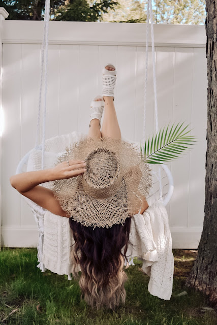 JustFab, Roxy hat, Lack of Color Dupe, hammock chair, summer sandals