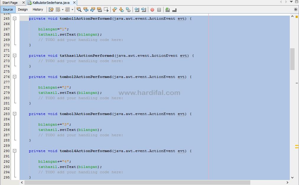 memberikan source code pada tombol
