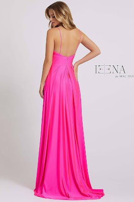 Sweetheart A-line Ieena for Mac Duggal Evening Dress Electric Pink Color Back side