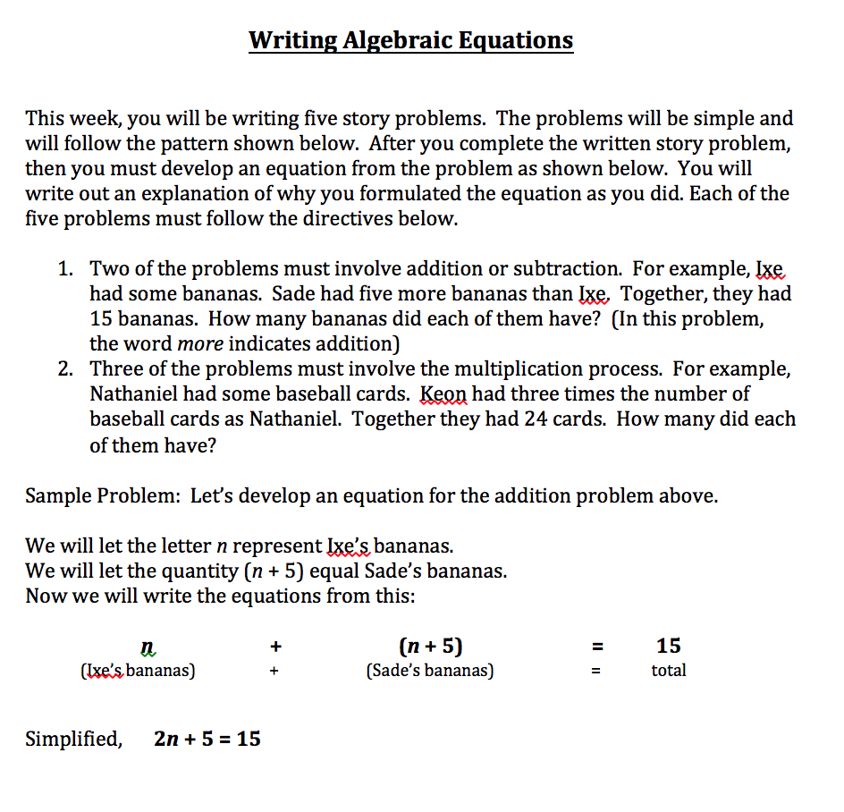 writing algebraic equations problems