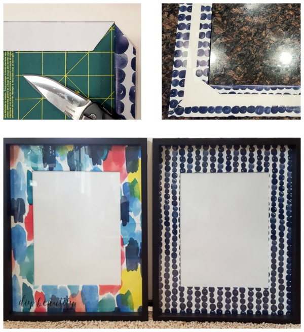 wrap a picture mat in colorful paper