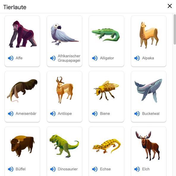 Screenshot der Tierlaute in der Google Suche