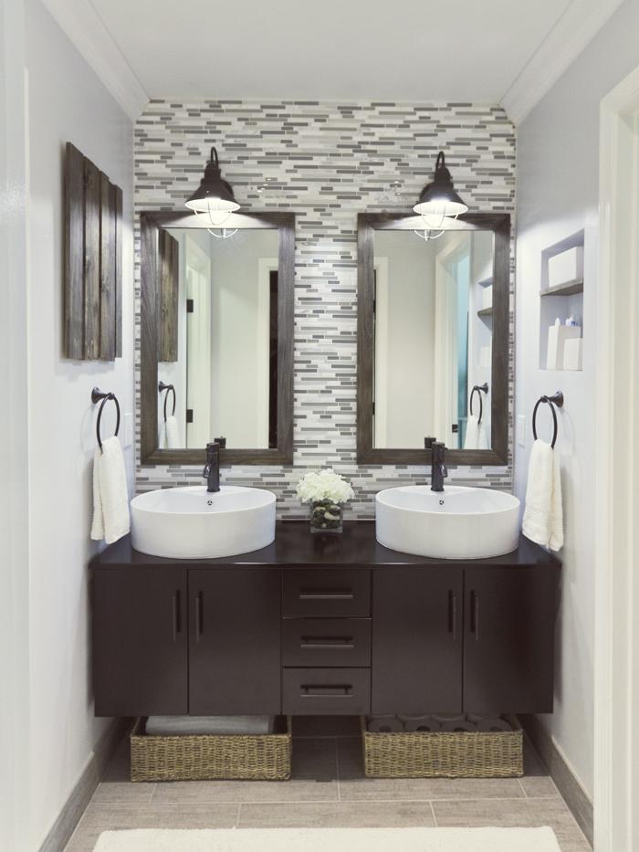 Tile backsplash behind bathroom vanity. with mini subway inset and ...