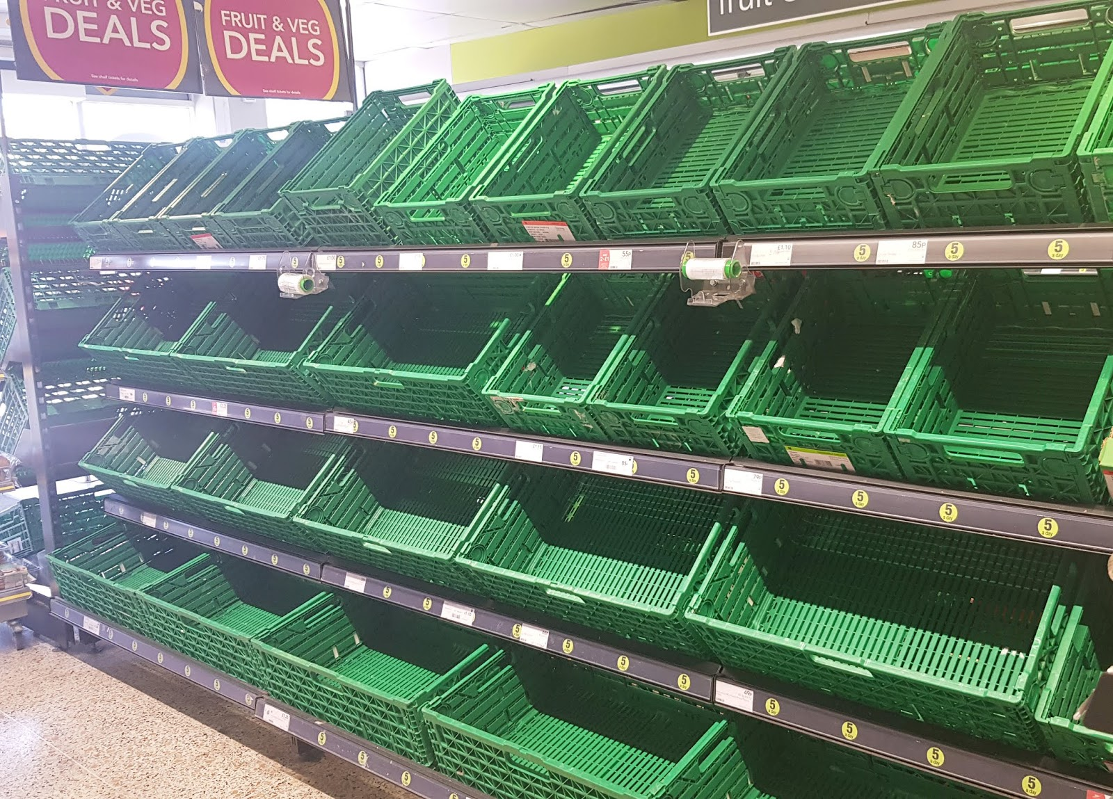 Bare shelves in the Co-Op after stockpilers strip them bare. London, March 2020