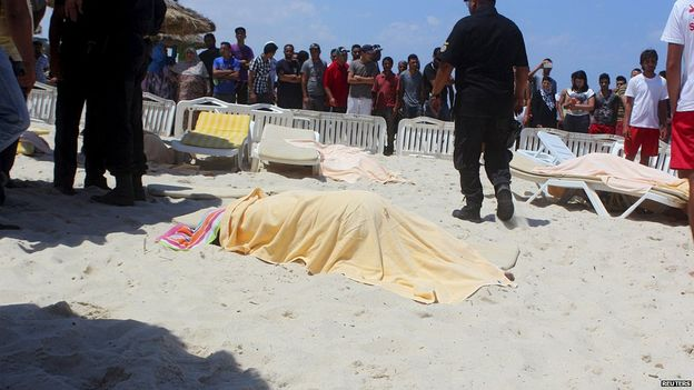 body of the victims of terrorist attack on sousse beach