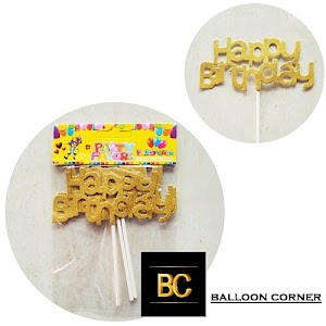 Topper Kue HAPPY BIRTHDAY Glitter Gold & Silver (Isi 3 Pcs)