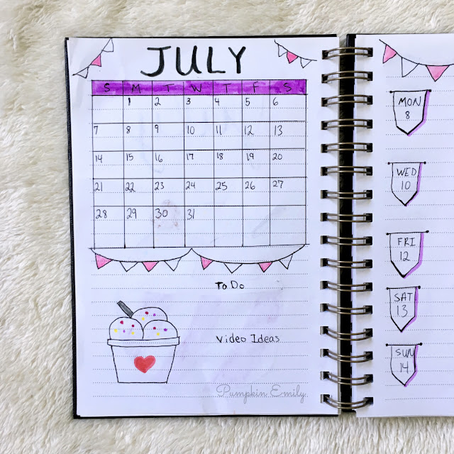 July 2019 bullet journal calendar