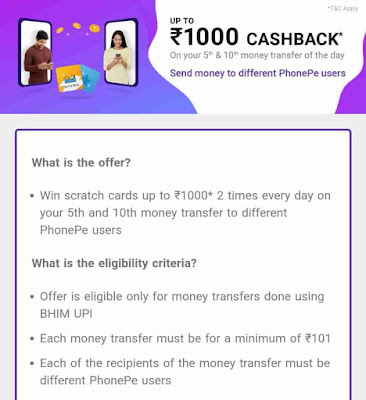 Phone Pe Money Offer - Earn Up to Rs.1000 Cashback Per Day For All user