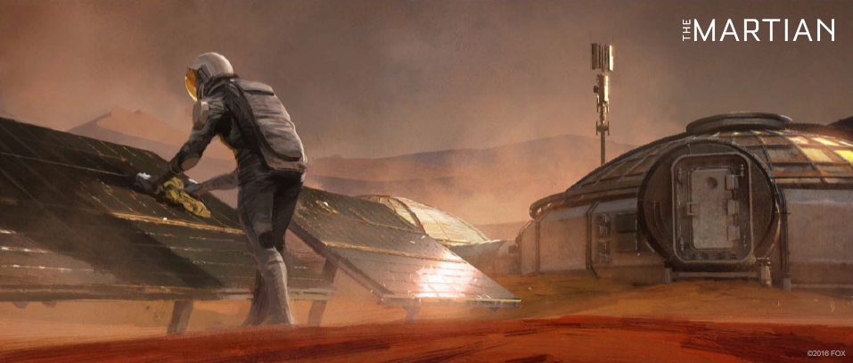 Concept art for The Martian - Mark Watney working at base