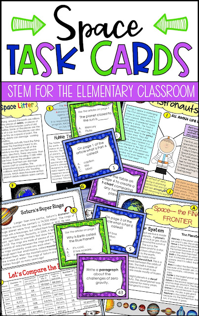 """Informational Text Features and Exploring Space: Task Cards and reading selections all about Space! What a great combination! Students read highly engaging """"newspaper"""" style articles and then respond to task card questions! Perfect!"""