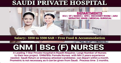 STAFF NURSE VACANCY IN SAUDI PRIVATE HOSPITAL