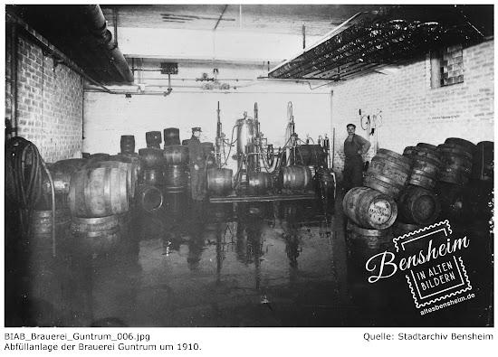 Abfüllanlage der Brauerei Guntrum, Stadtarchiv Bensheim, Retusche: Stoll-Berberich 2016