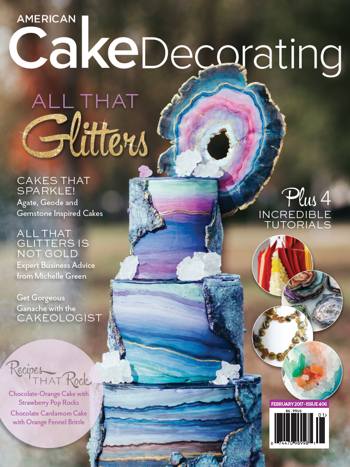 bake me a Kake  Golden Geode Cake in American Cake Decorating Magazine These geode inspired cakes are each drool worthy  and I m honored to have  one of mine included in this issue   Photographer   Vendors listed below