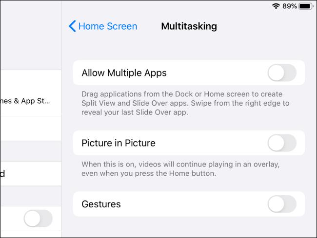 iPadOS تعدد المهام ميزات المعوقين