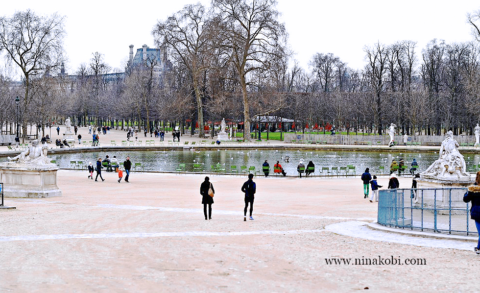 The Tuileries Garden in Paris, France, nina kobi travels to Paris in February