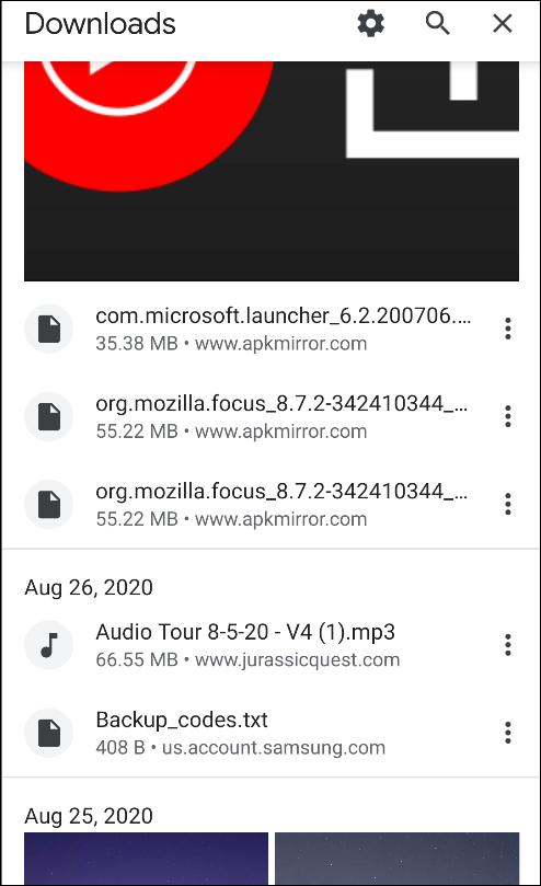 الكروم لصفحة تنزيلات android