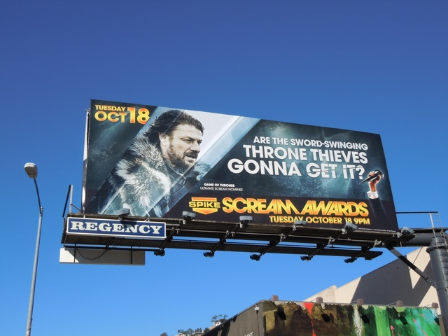 Game of Thrones Scream Awards billboard